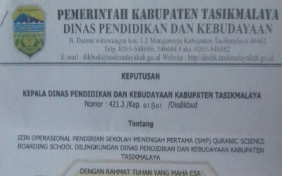 Izin Operasional Quranic Science Boarding School
